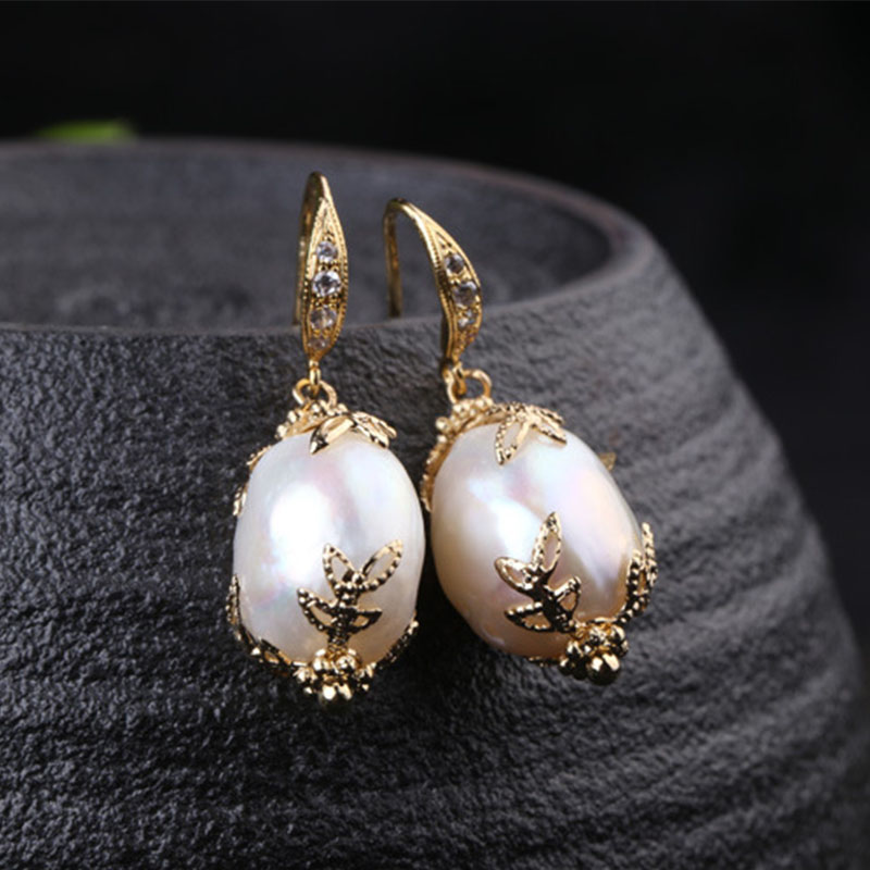 Lanseis Charm Flower Big Baroque Pearl Earrings, 1Pcs Unique Party, Wedding, Lace Pattern, Design Handmade Jewelry For Women