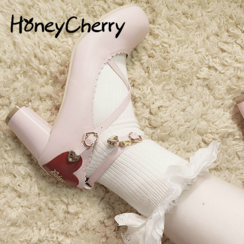 Japanese Sweet Literature And Art Soft Girl Lolita Student With Cross-straps, Rough-heeled Butterfly Knot And Single Shoes