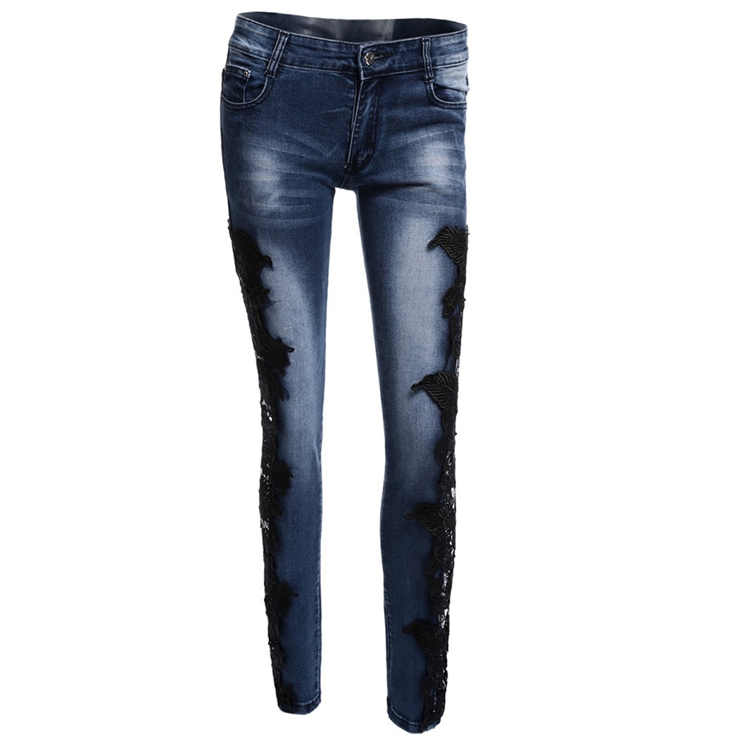2016 Woman Lace Crochet Hollow Slim Fit Knee Skinny Denim Jeans Sexy Low Waist Ripped Flower Hook Tight Pencil u2