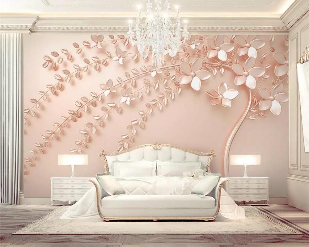 Beibehang Custom Wallpaper Rose Gold Embossed A Flowering Tree 3d
