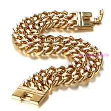 Men Bracelet Gold Color Top Quality Stainless Steel Bracelet & Bangle Male Accessory Hip Hop Party Rock Jewelry
