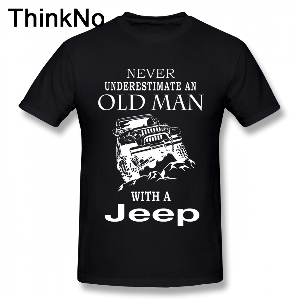 Man Old Man With A Jeep T Shirt S-5XL Short Sleeve 100% Cotton T Shirt  3D Print T Shirt Car Tees