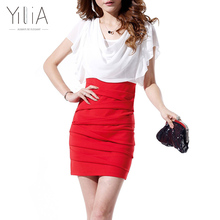 Dress mujeres de la gasa elegante bloque de color blanco negro rojo manga corta plisada 2017 cowl neck patchwork acanalada oficina summer dress