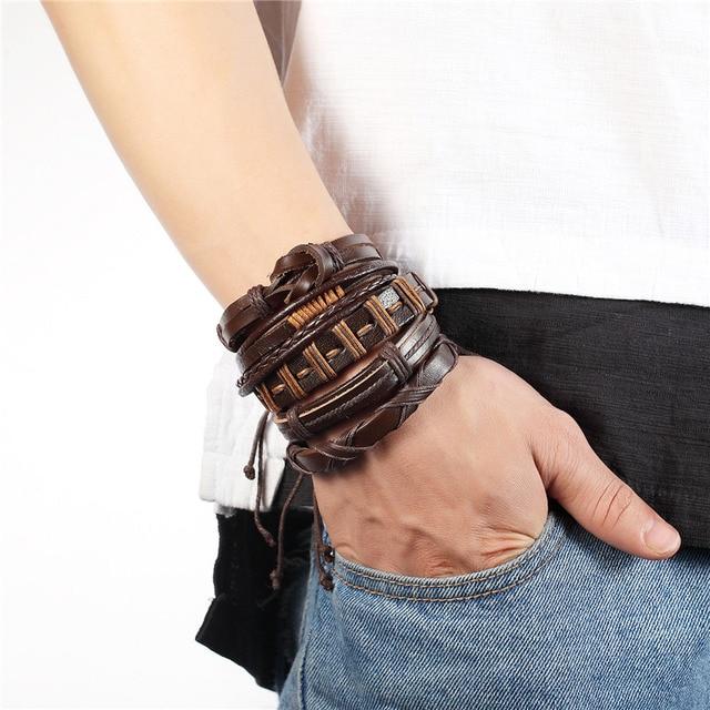 Janeyacy 1 комплект 5 шт модные многослойные кожаные браслеты