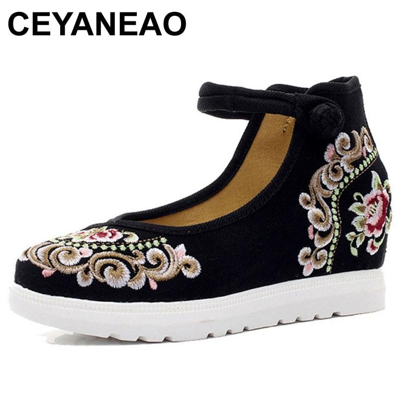 100% Wahr Ceyaneaohigh Ende Floral Bestickt Frauen Leinwand Flache Plattformen Mid Top Knöchel Band Der Chinesischen Stil Damen Casual Denim Shoese1296