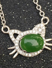 Natural green jasper Necklace natural gemstone Pendant Necklace S925 silver women Child  Fashion Elegant Cat fine party Jewelry