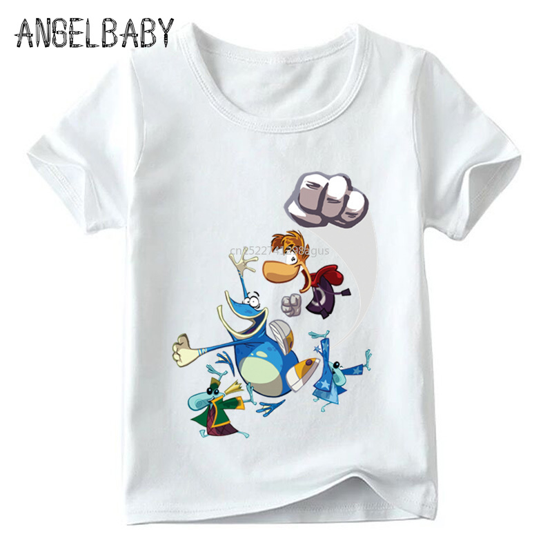 Kids Cartoon Rayman Legends Adventures Game Print T Shirt Baby Girls Summer White T-shirt Boys Casual Funny Clothes,HKP5204