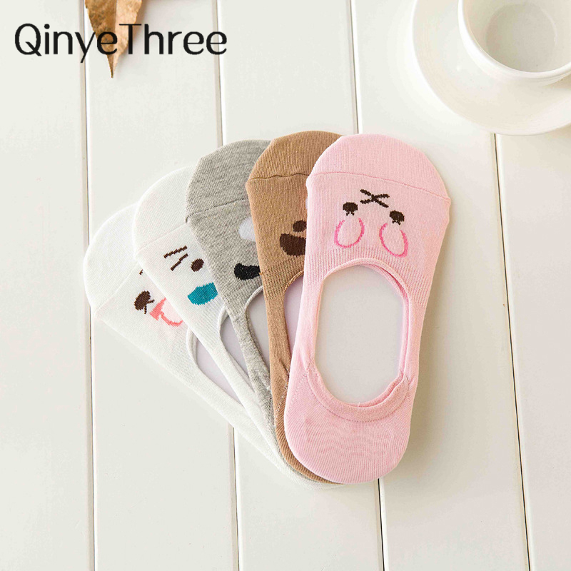 Fashion Women Invisible Cotton   Socks   Nonslip Loafer Liner Low Cut Cartoon Animal lady Necessity Kitty/Rabbit/Bear/Cat Sweety Sox