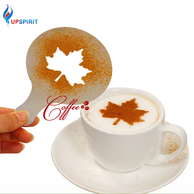 Upspirit 16Pcs / Set Mold Kávé Tortacsésze Cupcake Stencil Sablon Kávé Cappuccino Sablon Gusto Strew Pad Duster Spray Szerszámok