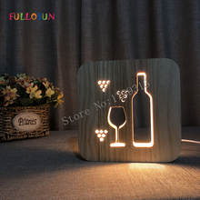 LED Sleep Light Rocket  Coffe Wine Wooden Carving 3D Lamp for Childrens Night Lights Holiday Present
