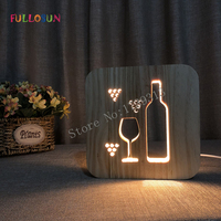LED Sleep Light Rocket Coffe Wine Wooden Carving 3D Lamp for Children's Night Lights Holiday Present