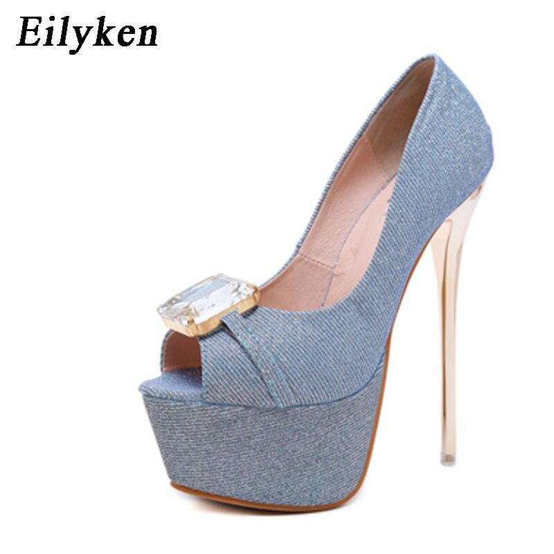 b4f7b1f3a1b6 Eilyken Women Pumps high heels 16CM Womens Sexy Peep Toe Pumps Platform  Slip-On shoes Gold Black Blue Wedding Party shoes