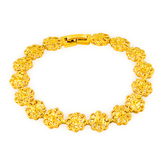 Gorgeous fancy design vacuum flowers chinese style yellow gold color gorgeous fancy design vacuum flowers chinese style yellow gold color hand chain link bracelet trendy mightylinksfo