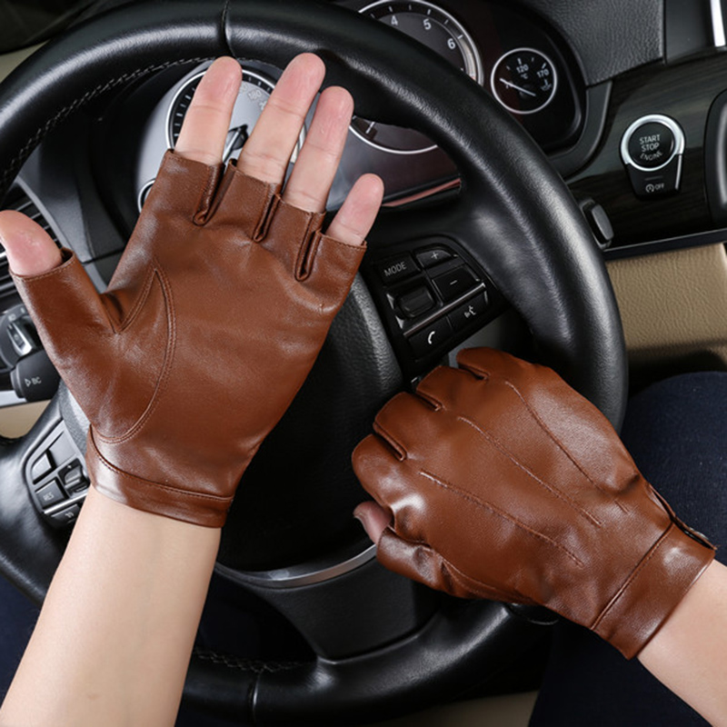 Men's Half Finger Leather Gloves Men's Driving Fingers Goat Leather Gloves NAN43-5