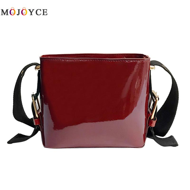 Bling Patent Leather Bucket Tote Bag Women Famous Brands Lady's Lacquered Bag Pure Color Handbag for Women Shoulder Bag Sac patent leather handbag shoulder bag for women page 1