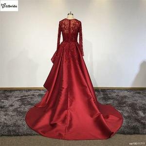 Image 5 - Surmount Angepasst Sexy Rot Kleider Oansatz Langen Ärmeln Rock mit Schlitz Zug Rot Abendkleid vestidos de festa Prom Kleider