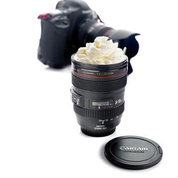 2019 New Coffee Lens Emulation Camera Mug Beer Mug Wine With Lid Black Plastic Cup Caniam Logo Mugs Cafe 400ml