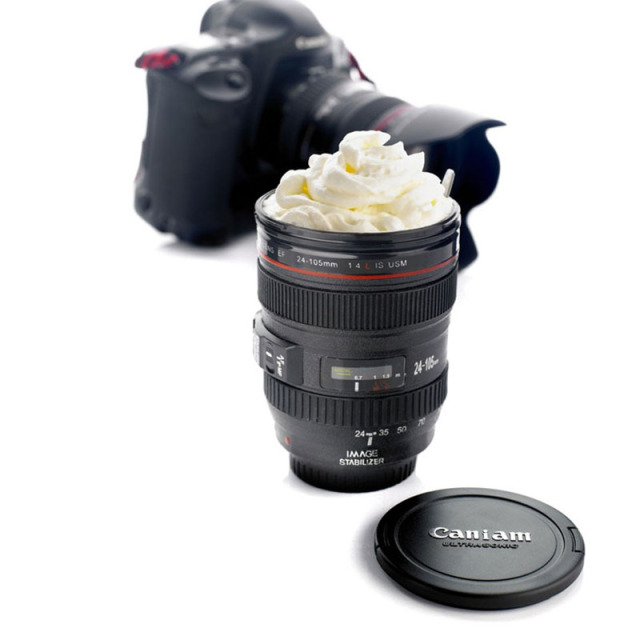 2019 New Coffee Lens Emulation Camera Mug Beer Mug Wine With Lid Black Plastic Cup Caniam Logo Mugs Cafe 400ml