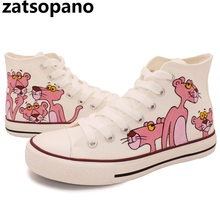 Hand-Painted Canvas Pink Panther Cartoon Shoes Women High