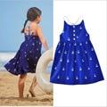 Hot Summer Girls Dress Nuevo Estilo Vestidos de Algodón Para Las Muchachas del Patrón del Ancla Niños Ropa Infantil de la Princesa Niños Vestido de Tirantes Chaleco
