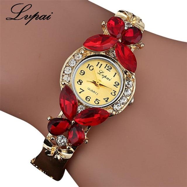 2017 Lvpai Watches Women Fashion Rhinestone Butterfly Watch Bracelet Watch Wrist