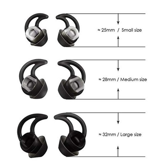 3 Pairs Replacement Noise Cancelling Silicone Earbuds Ear Tips Bud for Bose QC20 QC30 SIE2 IE3 Soundsport Wileless Earphones