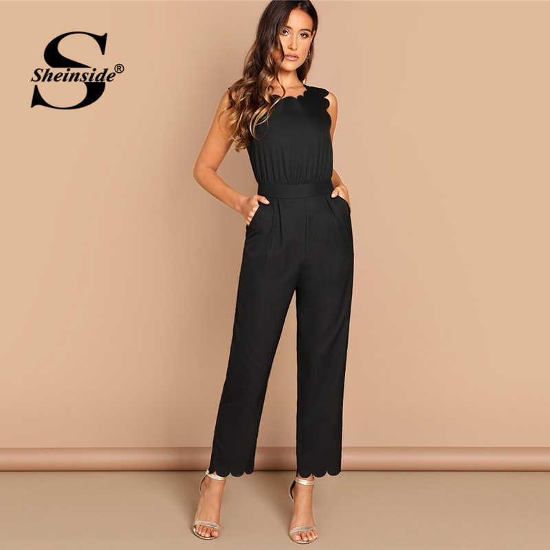 Sheinside элегантный с фестонным краем костюм-комбинезон летние черные комбинезоны для женщин 2019 без рукавов средняя талия рабочая одежда удлиненный комбинезон