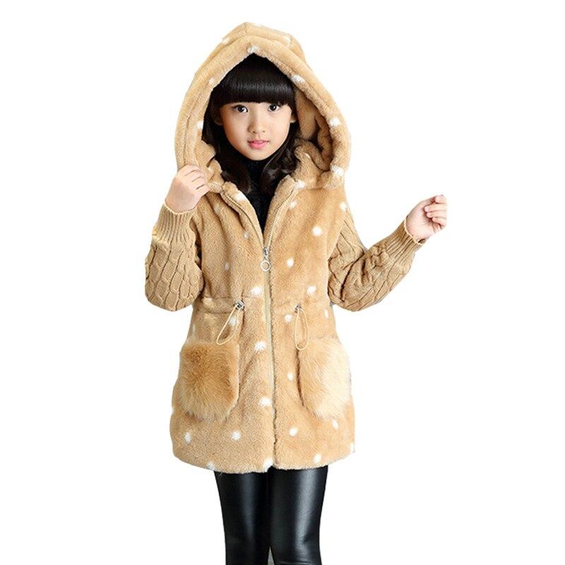 2017 Autumn Winter Jackets For Girls Clothing Children Outerwear Thicken Cartoon Coats Girls Plus Velvet Parkas 2 4 6 8 12 Years