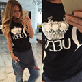 Hot Sale 2016 woman clothes Queen letter print t shirts summer short sleeve tshirt ladies fitness harajuku white black top tees