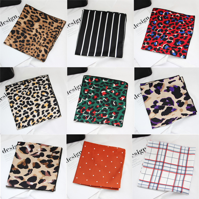 50x50cm Women Multifunction Polyester Faux Silk   Scarf   Sexy Leopard Printed Satin Small Square   Wraps     Scarves   Shawl Shawls