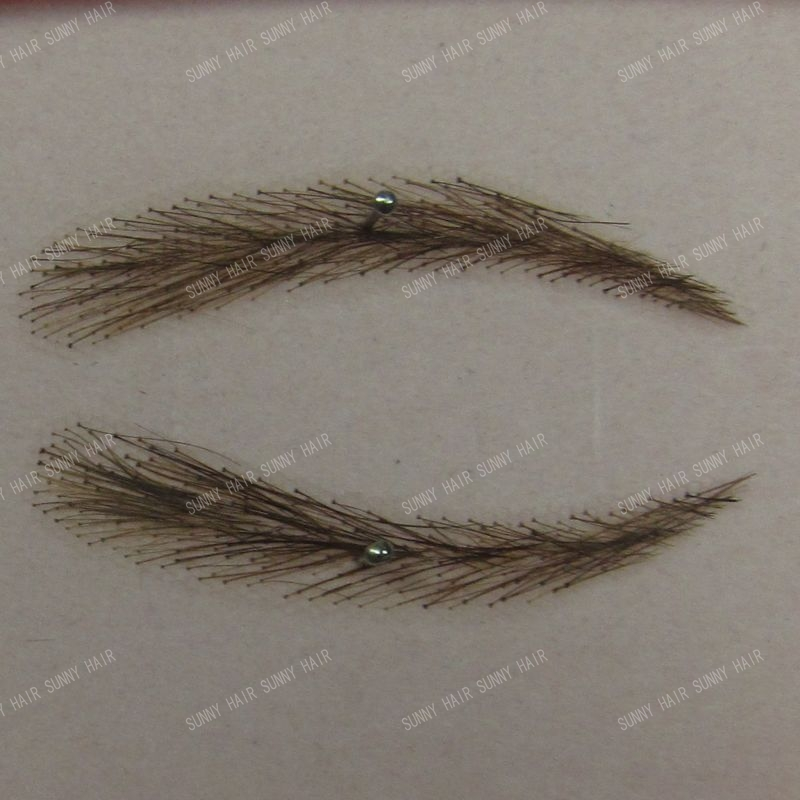 swiss lace relastic hand made human hair false eyebrow 012 dark 2# brown color invisible net