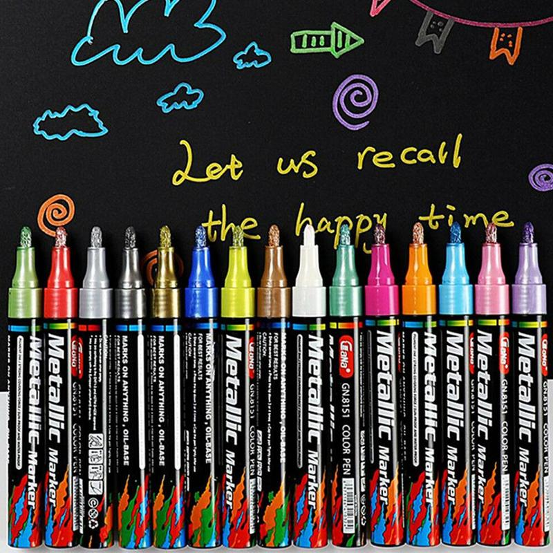 Creative Permanent Marker Pen Color Painting Pen Colorful Waterproof Water-based Black Card Paint Pen Ceramic Painting Oil Pen