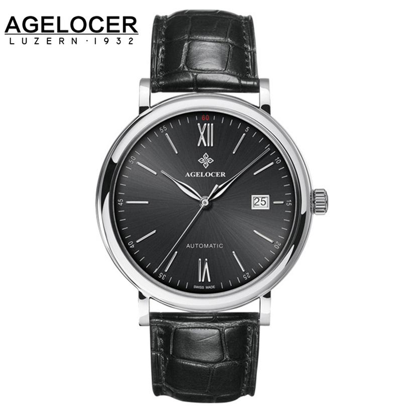 AGELOCER automatic Watches Swiss Branded Mens Classic Genuine Leather Self Wind Male Mechanical Watch Fashion Simple Wristwatch man mechanical watch automatic self wind leather wristwatch top brand fashion new stylish male classic watches relojs lz322