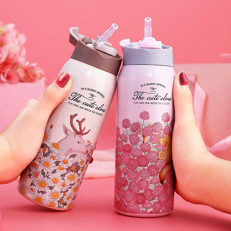 Thermal Flask With Straw Stainless Steel Sport Insulation Cup 350ml Portable Water Bottle Vacuum Tumbler Mug Thermocup for Kids