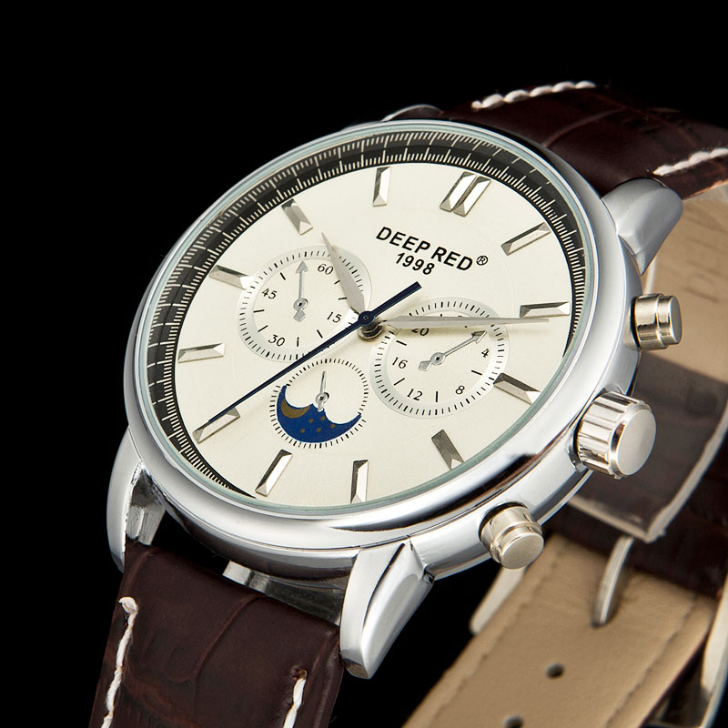 DEEPRED Classic Mens Dress Watch Moon Phase Quartz Wrist Watch Leather Strap Watches Men|watch men|watch moon|watches moon phase - title=