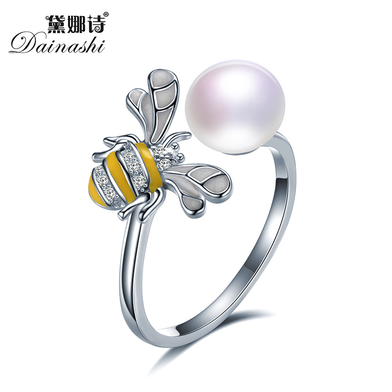 2018 Female Ring Pearl Adjustable Animal Ring Genuine Pearl Solid 925 Sterling Silver Ring For Women,Fine Jewelry S925 bee ring