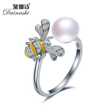 2018 Female Ring Pearl Adjustable Animal Ring Genuine Pearl Solid 925 Sterling Silver Ring For Women,Fine Jewelry S925 bee ring(China)