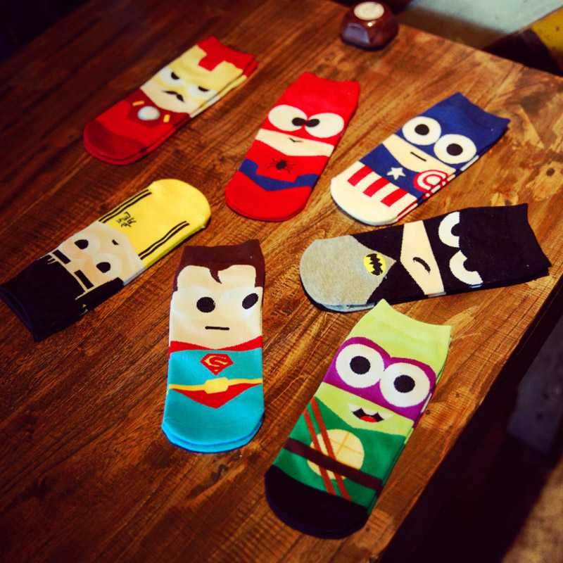 Marvel Heros Boat   Socks   Superman Batman Captain Arrowman Bruce Lee Character Pattern Superheroes Invisible Cotton Happy   Socks