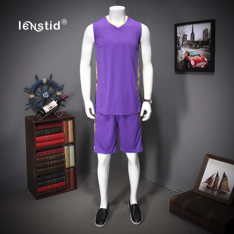 LENSTID Quick Dry Sportsuits Men Sets Sportswear Mens Tracksuit Sleeveless V-Neck t-Shirts Shorts Plus Size 5XL 6XL 7XL 3883#