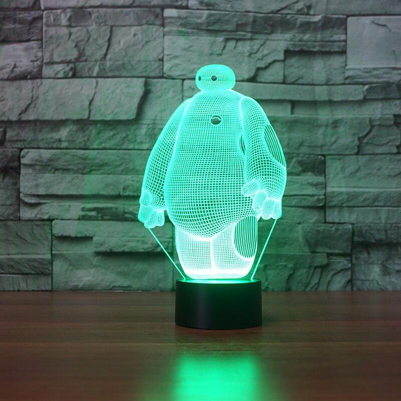 Baymax 3D лампа, 7 цветов, Светодиодные ночные лампы для детей, сенсорный светодиодный USB стол, Lampara Lampe, детский спальный ночник, датчик движения