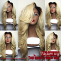 Hot sale blond ombre two tone color dark root natural wave heat resistant malaysian body wave synthetic lace front wig
