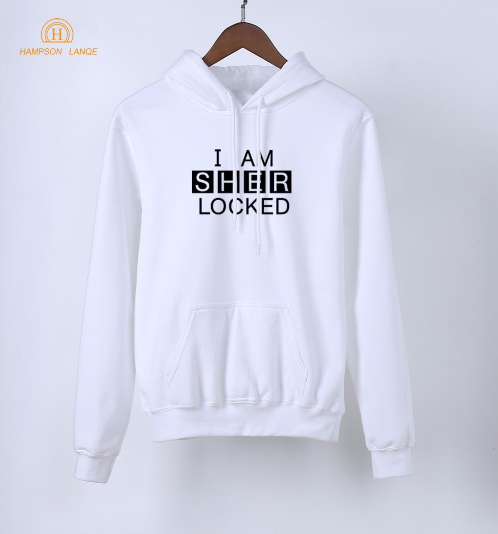 TV Show Sherlock Holmes Hoodies I Am Sher Locked Print Pullovers 2019 Spring Autumn Hot Sale Sweatshirt Women Long Sleeve Hooded