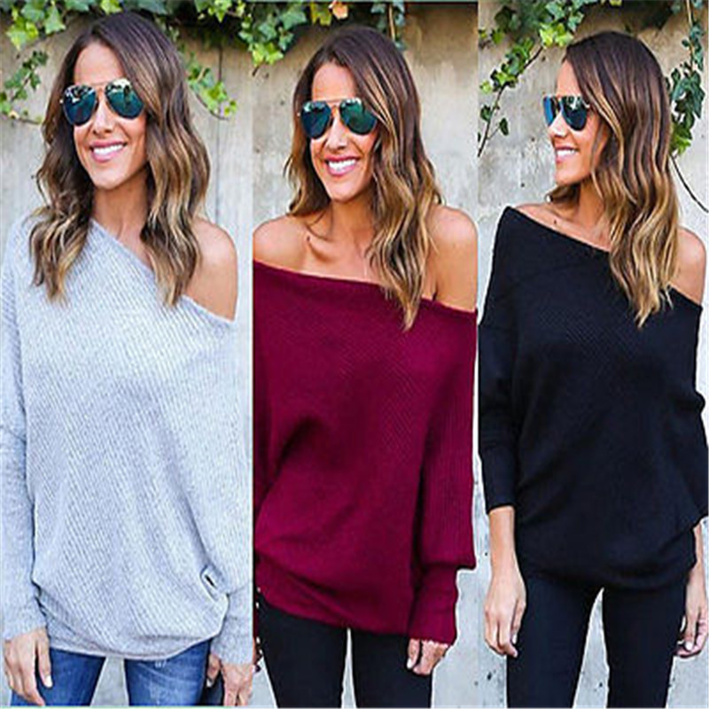 891b0de02486e2 Winter Women Sweater New Casual Long Sleeve Knitted Pullover Loose Sweater  Jumper Tops Knitwear Off One Shoulder Pullover -in Pullovers from Women's  ...