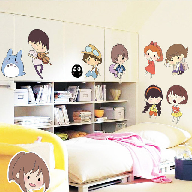 Fundecor Diy Home Decor New Cute Japanese Cartoon Wall Stickers For Kids Rooms Bedroom