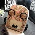 2016 primavera new fashion sweet girl impressão saco mochila mochila grande capacidade de lona da qualidade do saco de ombro das mulheres relógio Mickey