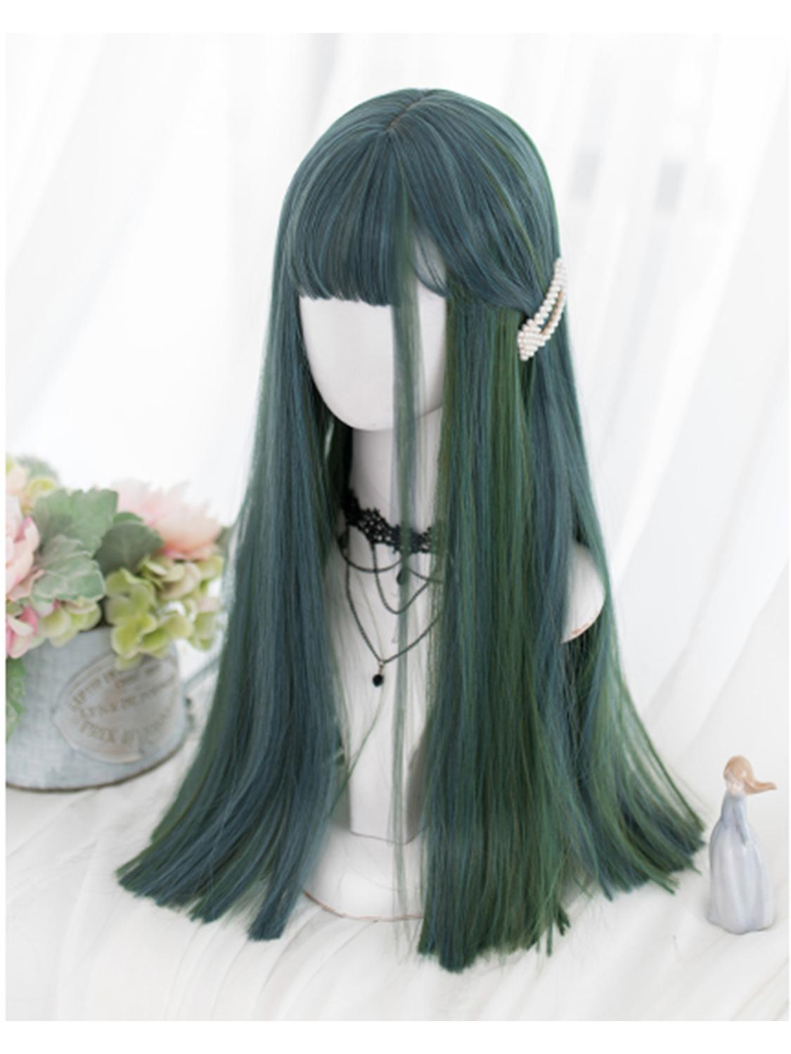 Cosplaysalon H762464L Lolita 60CM Long Straight Mixed Green Blue Ombre Hair Bangs Cute Party Synthetic Cosplay Wig