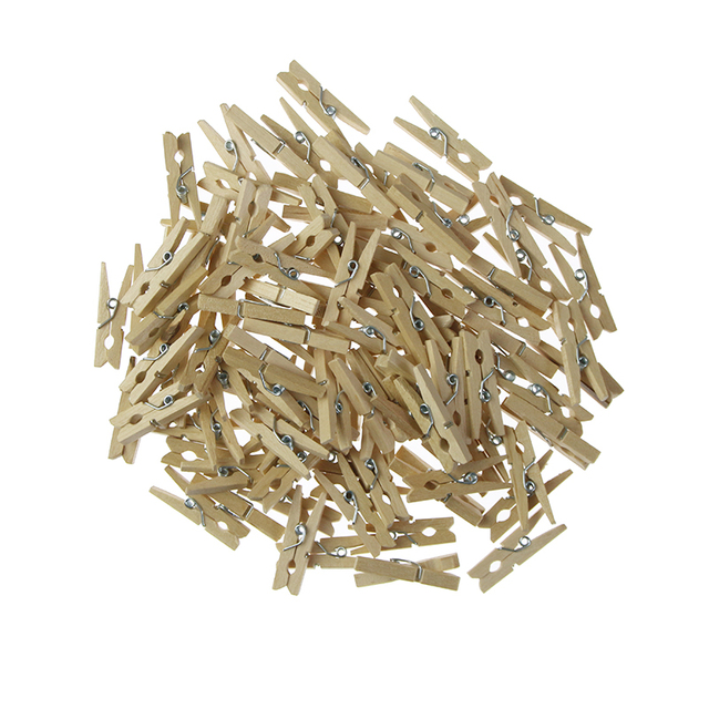 Wholesale Very Small Mine Size 30mm Mini Natural Wooden Clips For Photo Clips Clothespin Craft Decoration Clips Pegs 50 Pcs