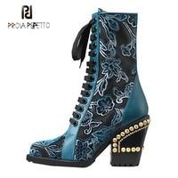 Prova Perfetto/Новые дизайнерские женские ботильоны с металлическими заклепками на массивном каблуке с острым носком, короткие сапоги с вышивкой,