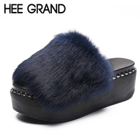 HEE GRAND 2018 Faux Fur Slippers Outside Fur Creepers Casual Platform Shoes Woman Slip On Slides