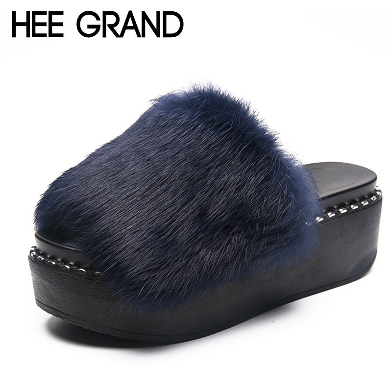 HEE GRAND 2018 Faux Fur Slippers Outside Fur Creepers Casual Platform Shoes Woman Slip On Slides Winter Soft Flats XWT1060 hee grand 2017 creepers summer platform gladiator sandals casual shoes woman slip on flats fashion silver women shoes xwz4074